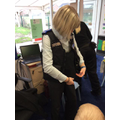 Mrs Hunt trying on the uniform