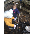 Creating nature potions in the mud kitchen!