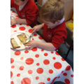 Making honey sandwiches and learning about halves
