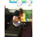 Sharing a book with a friend