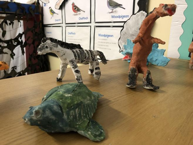 The children displayed their finished models
