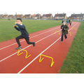 Hurdles on the running track!