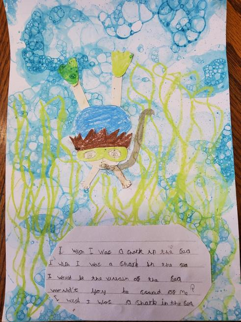 A bubble picture and poem written by Emelia!