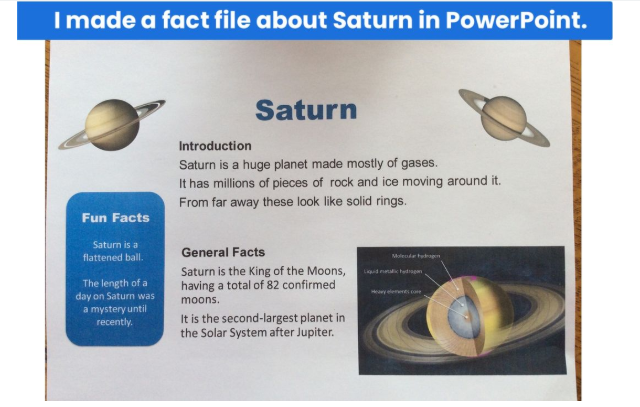Evie made a space fact file