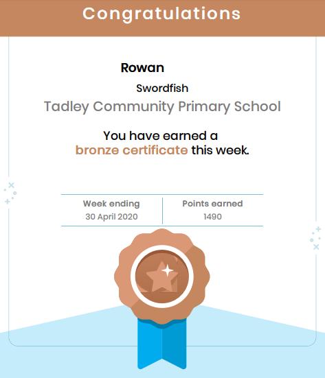 Rowan earned a Mathletics certificate.
