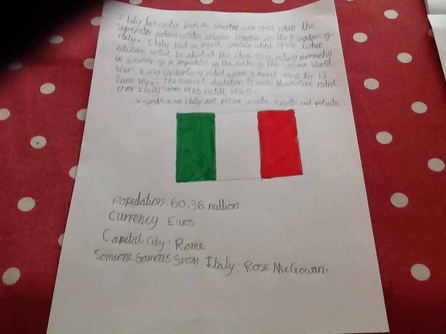 Katie has done some fantastic research about Italy