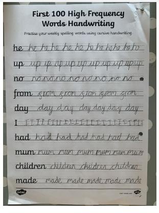 Freya's beautiful handwriting!