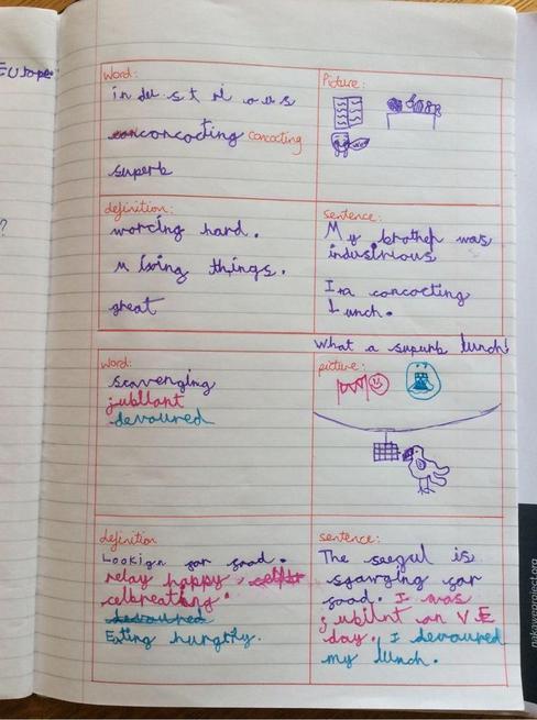 Evie's excellent vocabulary cards