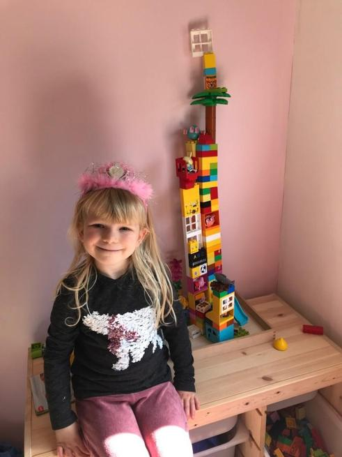 Arabella made a tall tower.