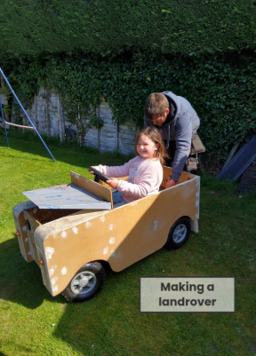 Emelia and her daddy made a Land Rover!