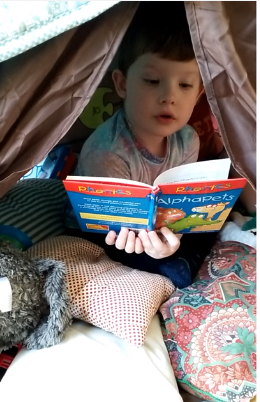 Rory made a reading fort