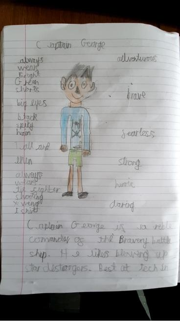 George's story character plan page 1.
