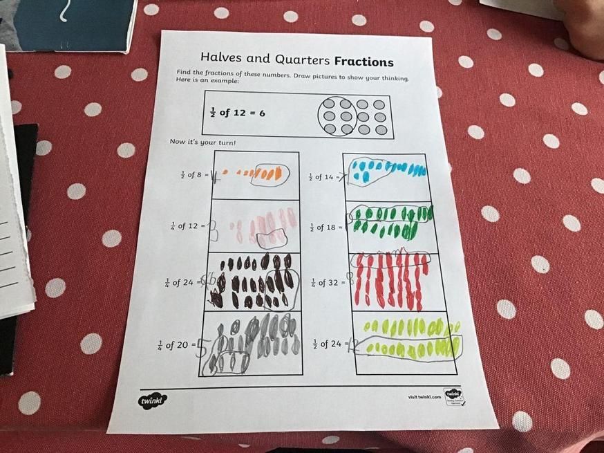 Toby's amazing work on fractions