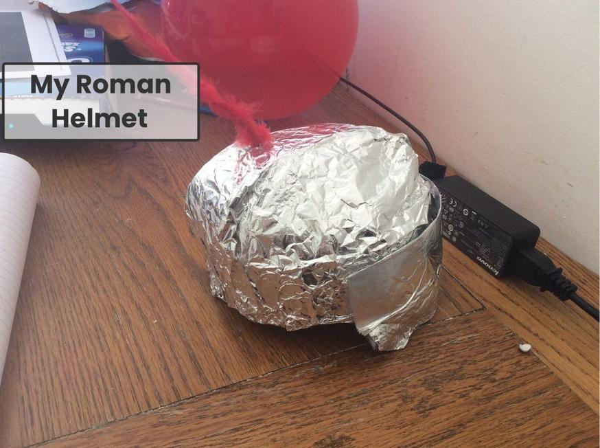 Izzy created a brilliant Roman helmet.