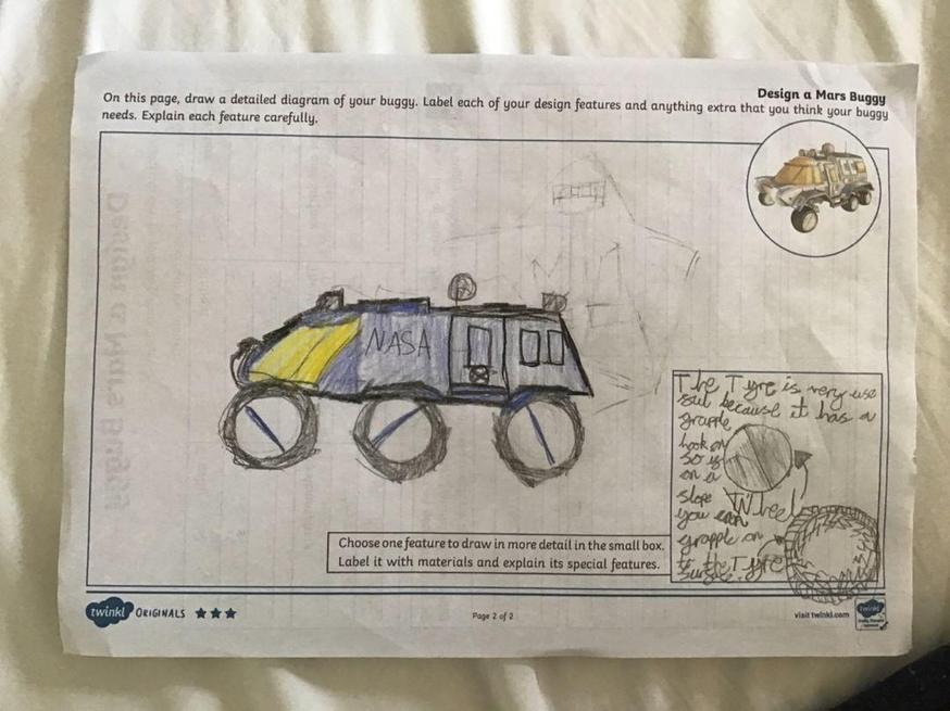 Grayson designed a Mars buggy.
