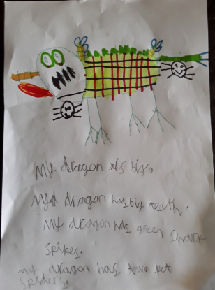 Izzy's brilliant dragon drawing and writing
