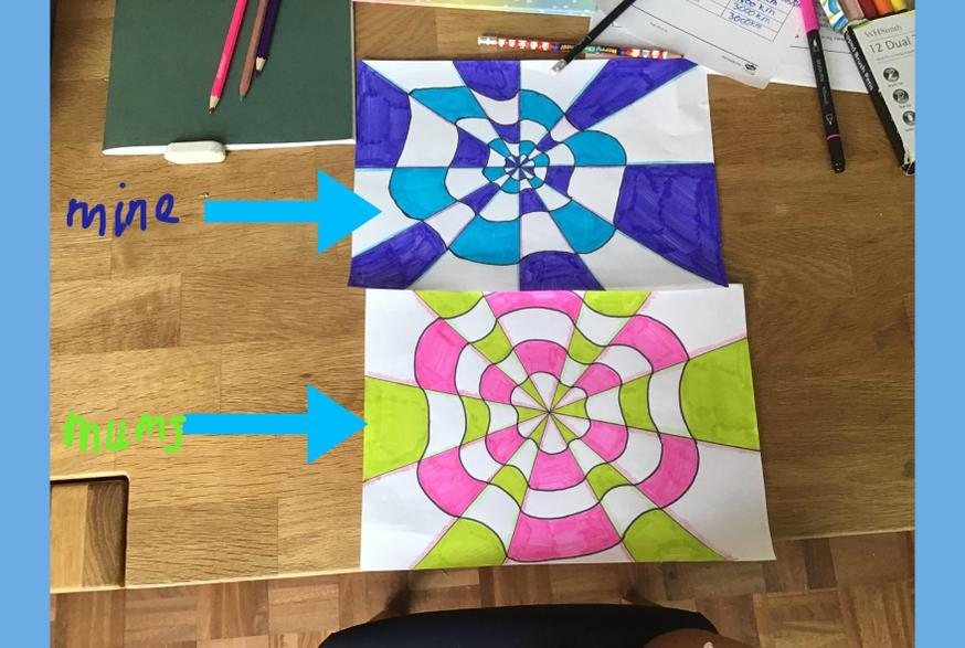Colourful optical illusions art from Katie.