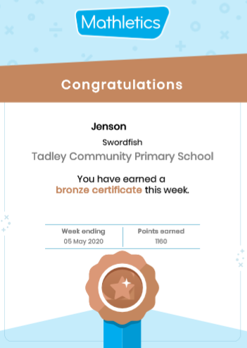 Jenson earned a Mathletics certificate.