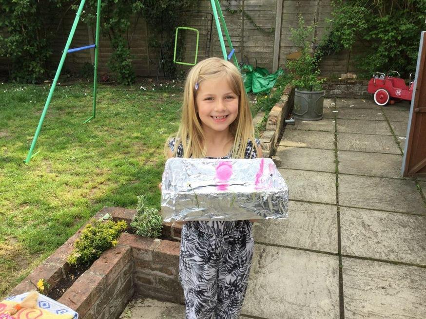 Neve made a boat that floats on water!