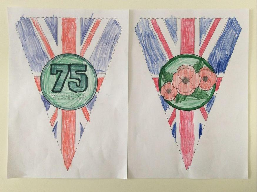 Zoe coloured in bunting for the VE day celebration