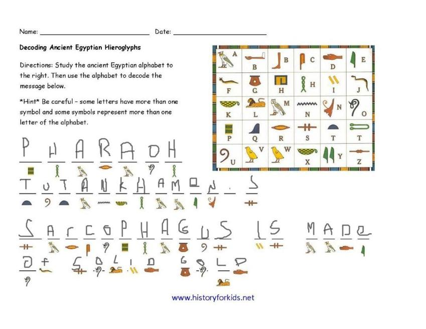 Blake deciphered some hieroglyphics.