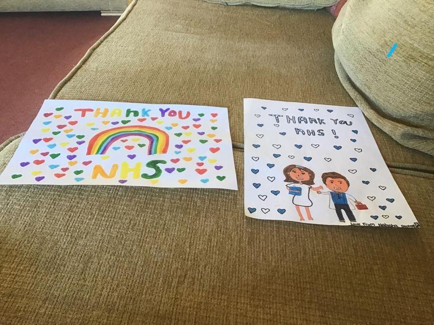 Natasha made posters thanking the NHS.