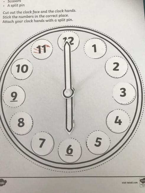 Pippa made a clock to tell the time.