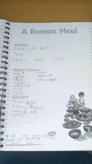 Logan created a Roman meal.
