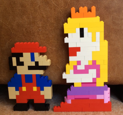 Evie made Mario and Peach out of Lego