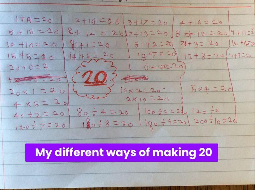 Evie found lots of ways to make 20