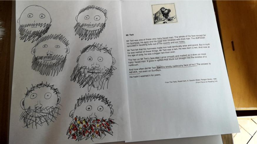 Brilliant drawings of Mr Twit by Megan.