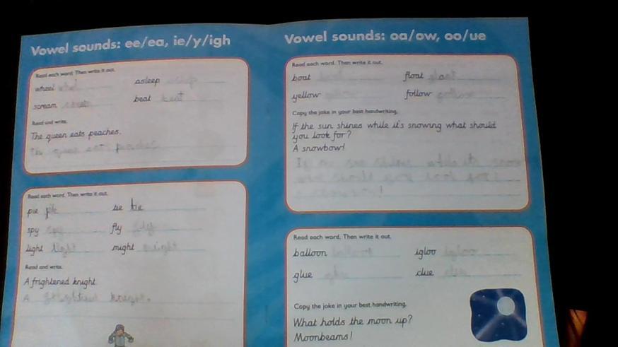 Great spelling work by Sophia.