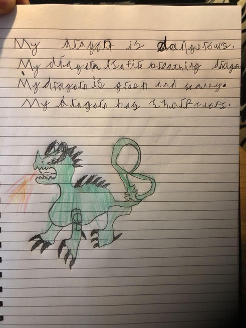 Bobby created his own dragon and wrote about it!