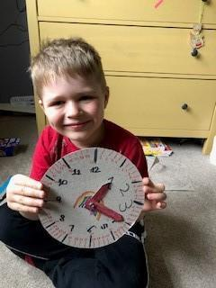 Abel made a clock and learnt to tell the time.
