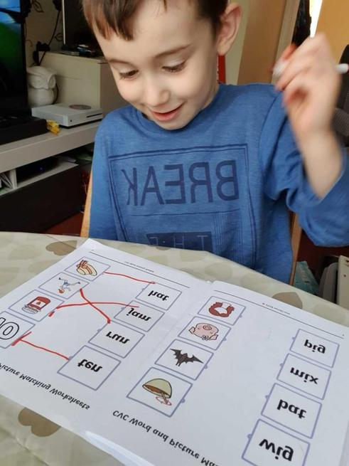 Logan's word and picture matching.