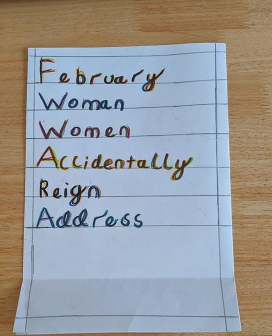 Oscar practised his spelling.