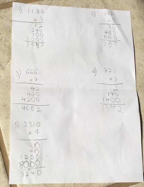 Ben learned how to do short multiplication.