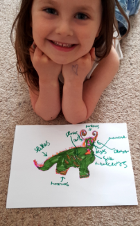 Faye's drawing and labelling of a dragon