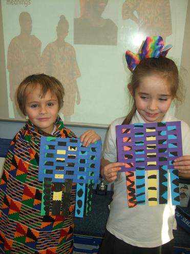 We painted kente patterns on to strips of card.