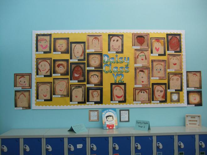 We used pastels to draw portraits of our friends.