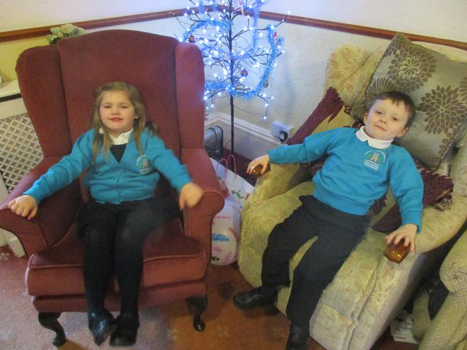 Having a rest after singing nativity songs.