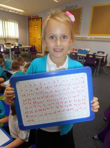 Amelia, also showing how great she is at writing her numbers to 100 and beyond!!