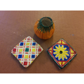 Rowan's colourful tiles and vase.
