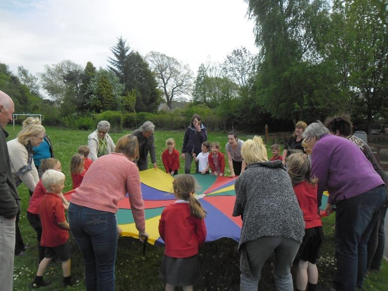 We enjoyed the parachute games