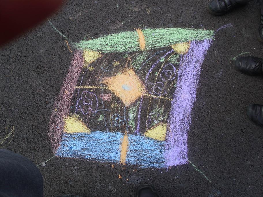 Chalk Rangoli patterns on the playground