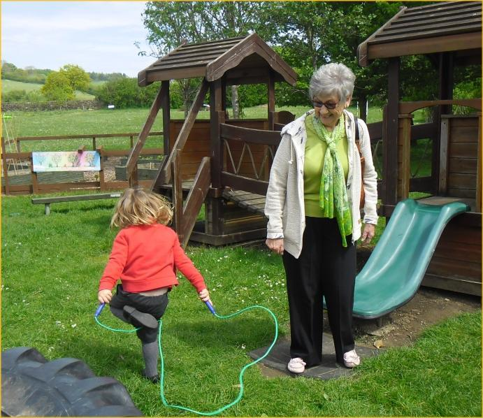 Hettie showed her Grandma how she skips