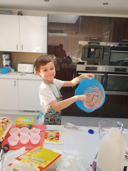 Zachary has been baking with mummy!
