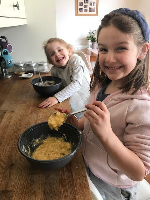 Bella baking with Isla