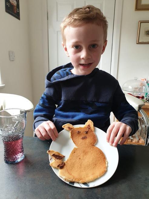 Toby made Pikachu pancakes!