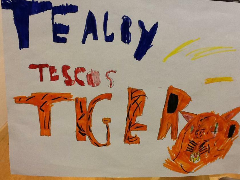 We made food labels for Tiger food!